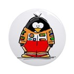 Auto Racing Penguin Ornament (Round)