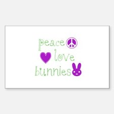 Peace, Love and Bunnies Decal