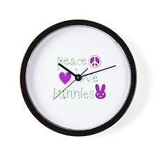 Peace, Love and Bunnies Wall Clock