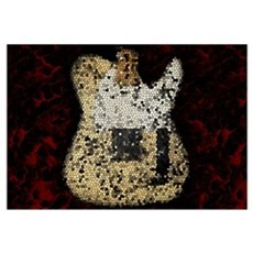Guitar Mosaic Artwork Wall Art Framed Print