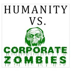 Humanity vs. Corporate Zombie Wall Art Canvas Art