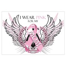 I Wear Pink for my Mom Wall Art Canvas Art