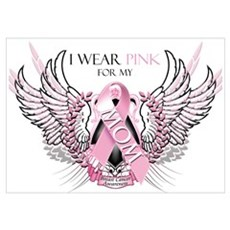 I Wear Pink for my Mom Wall Art Poster