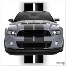 New Mustang GT Gray Wall Art Poster