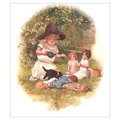 Doll Tea Party Wall Art Canvas Art