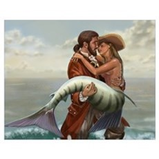 Pirate and Mermaid Wall Art Poster