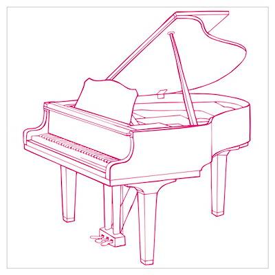 Pink Piano Wall Art Poster