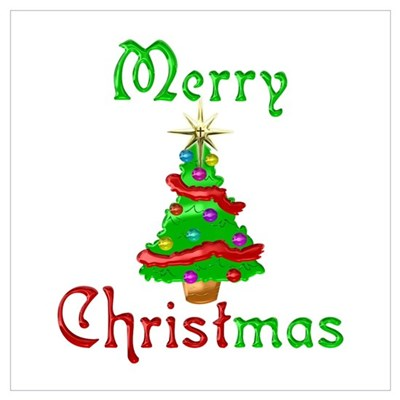 Merry Christmas Tree Wall Art Poster