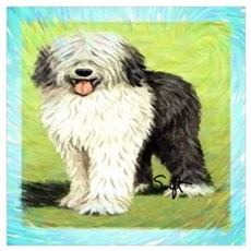 Old English Sheepdog Wall Art Poster