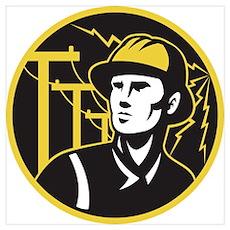 power lineman electrician Wall Art Poster