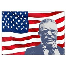 Roosevelt and Flag Wall Art Framed Print