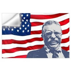 Roosevelt and Flag Wall Art Wall Decal