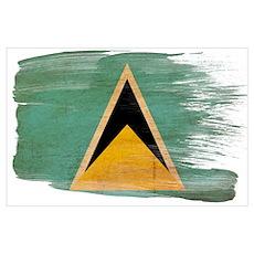 Saint Lucia Flag Wall Art Poster