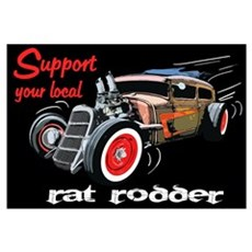 Support Local Rat Rodder Wall Art Canvas Art