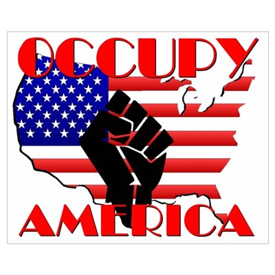 Occupy America USA Flag Wall Art Framed Print