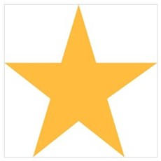 Five Pointed Yellow Star Wall Art Poster