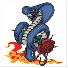 Snake, Rose, and Fire. Wall Art Poster