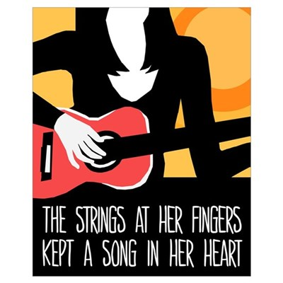 Heart Strings Guitar Poster Canvas Art