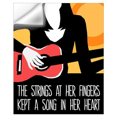 Heart Strings Guitar Poster Wall Decal