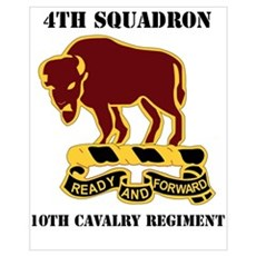 DUI - 4th Sqdrn - 10th Cavalry Regt with Text Mini Framed Print