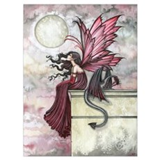 Restless Ruby Fairy and Drago Wall Art Canvas Art