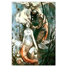 Diver and the Mermaids Wall Art Canvas Art