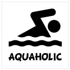 Aquaholic Swimmer Wall Art Poster