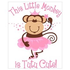 Tutu Cute Monkey Wall Art Framed Print