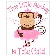 Tutu Cute Monkey Wall Art Poster
