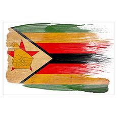 Zimbabwe Flag Wall Art Poster