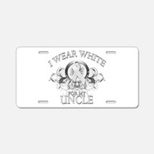 I Wear White for my Uncle (fl Aluminum License Pla