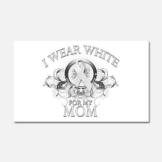 I Wear White for my Mom (flor Car Magnet 20 x 12