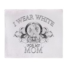 I Wear White for my Mom (flor Throw Blanket