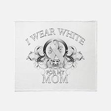 I Wear White for my Mom (flor Throw Blanket
