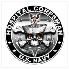 USN Hospital Corpsman Skull H Wall Art Poster