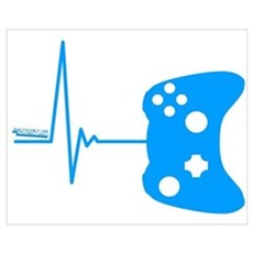 Gamers Heart Beat Wall Art Framed Print