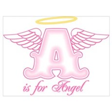A is for Angel Pink Wall Art Poster