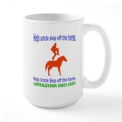 Help Uncle Skip Off The Horse Mug
