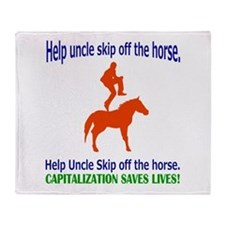 Help Uncle Skip Off The Horse Throw Blanket