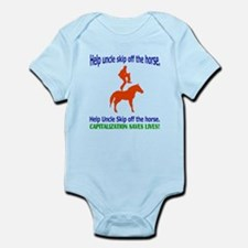 Help Uncle Skip Off The Horse Infant Bodysuit