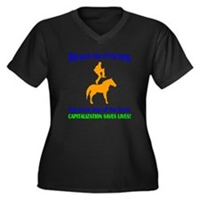 Help Uncle Skip Off The Horse Women's Plus Size V-