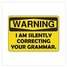 Warning Grammar Wall Art Poster