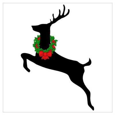 Stag & Wreath Wall Art Poster