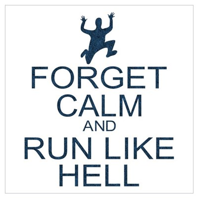 Forget Calm Run Like Hell (parody) Wall Art Poster