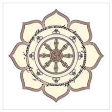 Dharma Wheel with Lotus Flowe Wall Art Poster
