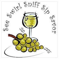 White Wine 5 S's Wall Art Poster
