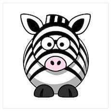 Cartoon Zebra Wall Art Poster