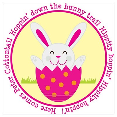 Peter Cottontail Girl Easter Wall Art Poster