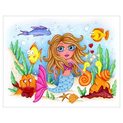 Ocean Mermaid Wall Art Poster