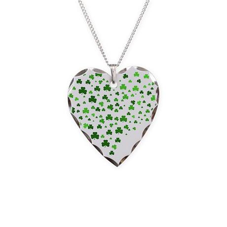 Shamrock Heart Necklace Heart Charm
